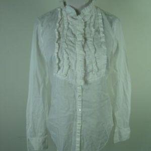 J. Crew White Pleated BIB Long Sleeve Shirt 4
